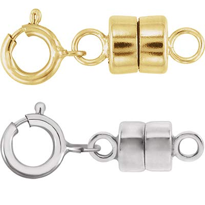 1 - Each New Solid 14k Yellow Gold and 1 - New Solid 14K White Gold Round Magnetic Clasp w/ 14K White Gold 5mm Spring Ring Clasp for Necklaces, Bracelets, and Anklets - Jewelry By Sweetpea ()