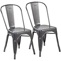 eurosports Tolix Style Chair 3004-MS-2 Metal Kitchen Dining Chairs with Back, Set of 2 Matte Silver