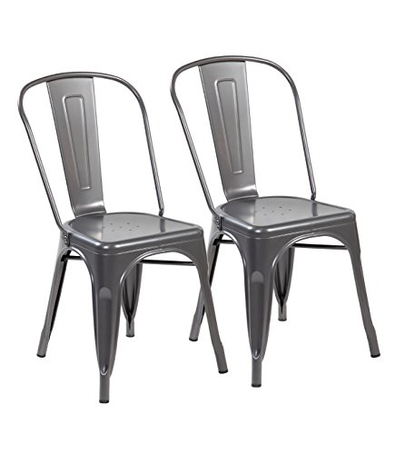 eurosports Tolix Style Chair 3004-MS-2 Metal Kitchen Dining Chairs with Back, Set of 2 Matte Silver Review
