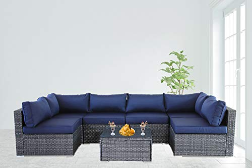 Patio Furniture Garden Grey PE Rattan Sofa 7pcs Navy Blue Cushion Outdoor Couch Outside Conversation Set-Easy Assembled Outdoor/Indoor Sofa
