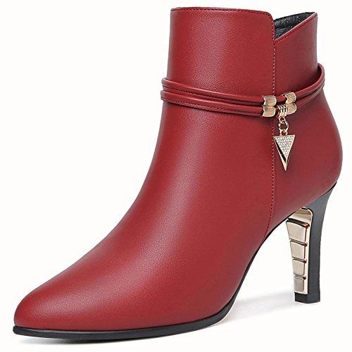 Tacones amp;s rojo Toe Botines Zapatos Mujer Vino Stiletto Señaló La Mei fyb7Yg6