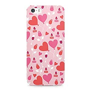 Loud Universe Rose Champagne Balloon Heart Pattern Sleek Scratch Resistant Wrap Around iPhone SE Case - Pink