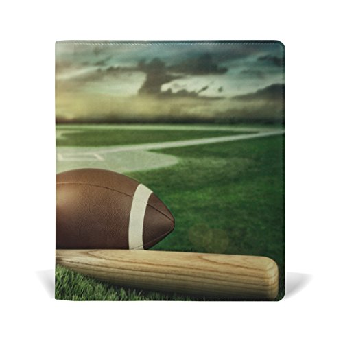 New AURELIOR Baseball Bat And Mitt In Field Sunset Pattern Stretchable PU Leather Book Cover 9 x 11 Inches Fits for School Hardcover Textbooks