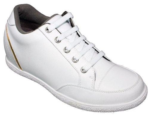 W-TOTO 1293-6,60 (2,6)-Tappetto cm, altezza aumentare ascensore scarpe, colore: bianco con lacci, da donna