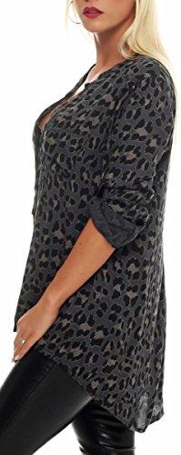 Unique Gris Haut Oversize Taille Tunique Loose Print Femme malito Blouse Safari Fonc 6702 3 4 avec Animal HxfZnR6