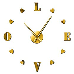 FYGEX Wall Clock DIY Heart Shaped Wall Clock Nursery Big Clock Wall Romantic Valentines Gifts 37 Inch Gold