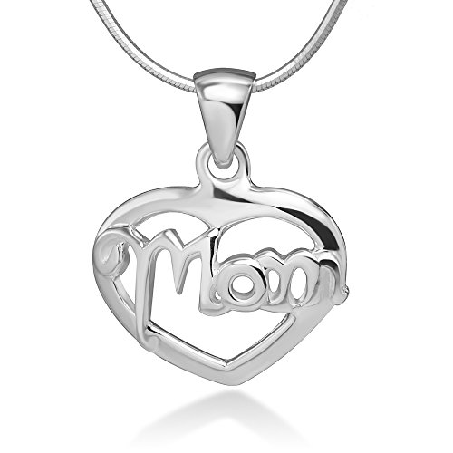Chuvora 925 Sterling Silver Open Mom Word Heart Love Pendant Necklace, 18 inches