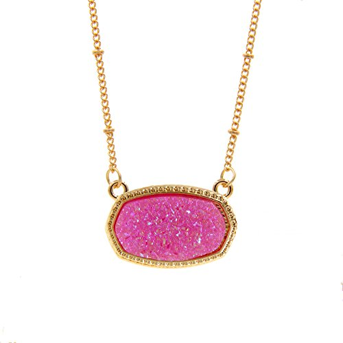 YUJIAXU Sparkling Faux Druzy Oval Pendent Short Necklace for Wedding Gift Jewelry (Gold + Pink -