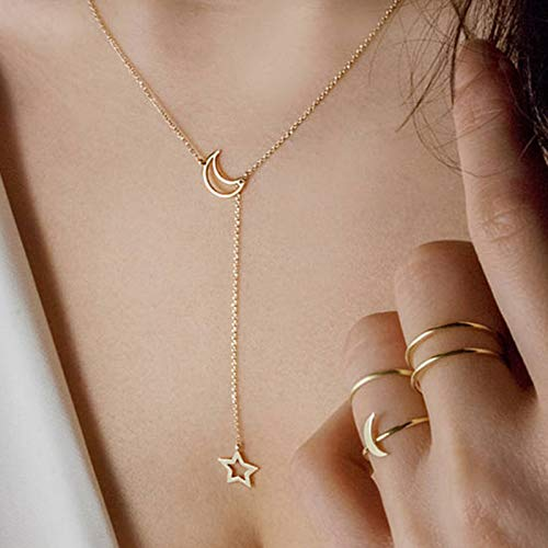 Rose Gold Necklace - 2018 Fashion and Chain Necklace Long Pendant Necklace Golden Women Birthday Gift X13 ()