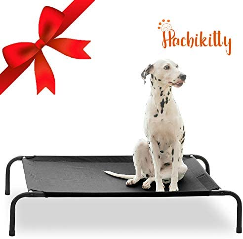 HACHIKITTY Elevated Dog Bed Cot Outdoor, Cooling Raised Dog Beds Large, Portable Dog Cots Extra Large