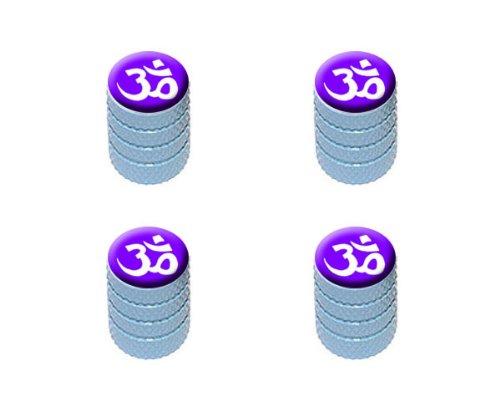 Cap Dome Light White (Om Aum Yoga White on Purple Tire Rim Wheel Aluminum Valve Stem Caps - Light Blue Color)