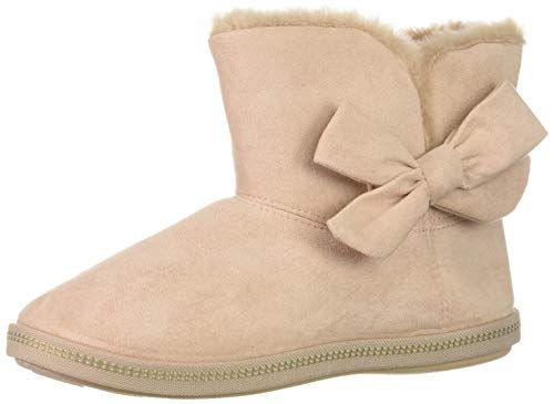 Womens Fire Boots - Skechers Women's Cozy Campfire-Microfiber Slipper Boot with Bow, Light Pink, 8 M US