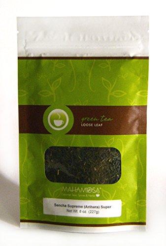 Mahamosa Japanese Green Tea and Tea Infuser Set: 8 oz Sencha Supreme (Arihara) Superior Japan Green Tea, 1 Stainless Steel Tea Ball Infuser (Bundle- 2 items)(Tea ingredients: Green tea) ()