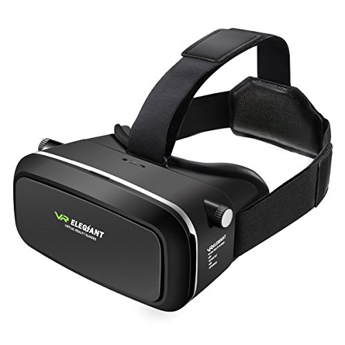 VR Headset, ELEGIANT 3D VR Glasses Virtual Reality Headset for 3D Movies and Video Games, Works with iPhone 7 Plus 6 Plus 6s Samsung S7 S6 Edge S5 Note 5 and Other Smartphones - 1st Generation VR Box