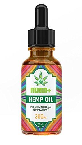 AuraPlus Organic Hemp Oil for Pain Relief - 100% Pure Hemp Seed Extract - Made in USA - Helps Sleep, Skin, Hair, Mood, Pain & Anxiety - GMP Certified Hemp Oil Drops