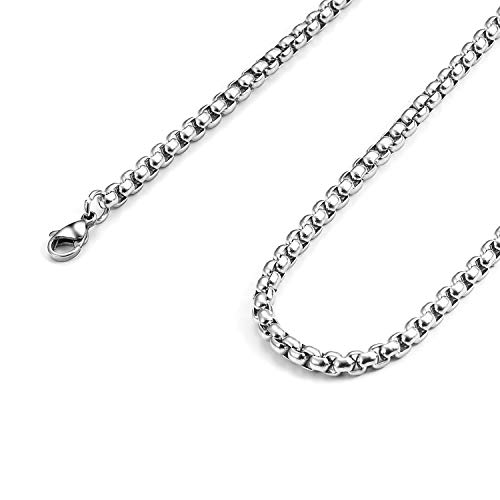 - Monily 2-7mm 16-36In Square Rolo Stainless Steel Chain Necklace Round Box Necklace Men Women Jewellery