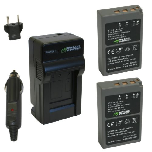 Price comparison product image Wasabi Power Battery (2-Pack) and Charger for Olympus BLS-5,  BLS-50,  PS-BLS5 and Olympus OM-D E-M10,  PEN E-PL2,  E-PL5,  E-PL6,  E-PL7,  E-PM2,  Stylus 1