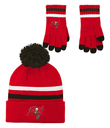 NFL Youth Boys (8-20) 2 Piece Knit Hat and Gloves Set-Red, Tampa Bay Buccaneers-One Size (Tampa Bay Buccaneers Beanie)