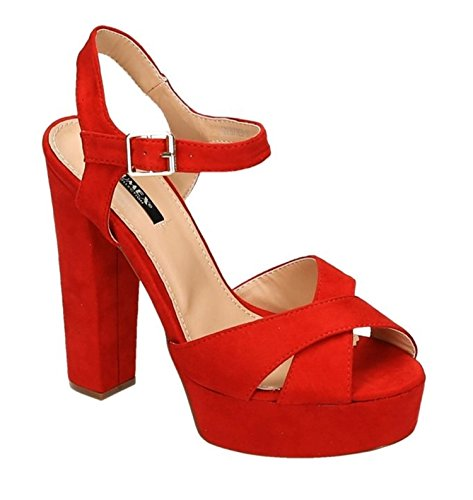King Shoes femme peep Of Rouge toe Escarpins Bwrx0B6Tq