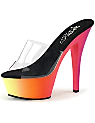 Summitfashions Womens Multi Color Heels Neon UV Reactive Glow in The Dark Slides 6 inch Shoes