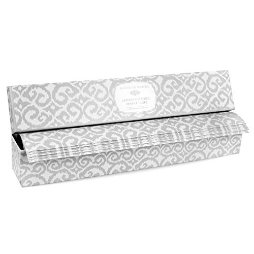 Raymond Waites Fresh Lavender Scented Drawer Liners - 5 Non Stick Shelf Liners, Printed Shelf Paper and Drawer Lining Paper Sheets with Matching Gift Box (16.5