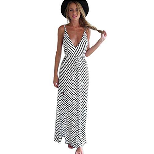 Kwok Women's Sleeveless Striped Maxi Beach Sundress Party Dress