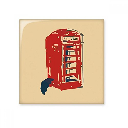 (Telephone Booth Umbrella Rain Glossy Ceramic Tile Bathroom Kitchen Wall Stone Decoration Craft Gift)