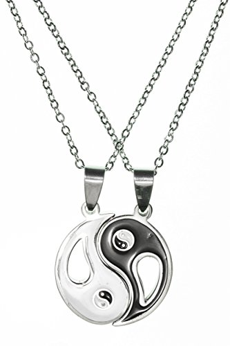 Yin Yang - Handmade Steel Double Pendant Necklaces by Beautifly - Duality Symbol of Two Complementary, Interconnected, and Interdependent Pieces with a 16-inch Chain