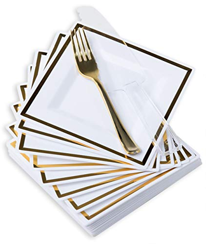 Dessert Plates with Forks & Cake Knife, 201 Pcs - Modern, Square, Disposable Set in Gold or Rose Gold Trim - Premium Plastic Serveware - Party Supplies, Durable, Non-Toxic and BPA-Free (gold)