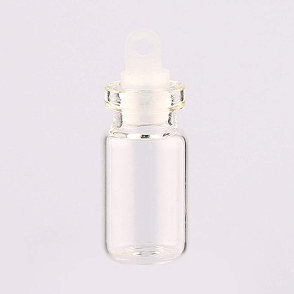 EXCEART 50 Piezas Botellas de Vidrio Vacías Transparentes Mini Botella de Deseo con Tapón de Plástico Colorido Tubo Colgante para Mensaje Boda Diy Colgantes 2 Ml: Amazon.es: Hogar