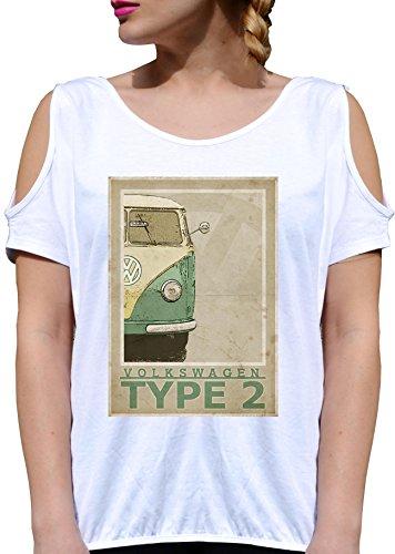 T SHIRT JODE GIRL GGG27 Z2063 VAN HIPPY TYPE 2 FLOWER POWER FUN FASHION COOL BIANCA - WHITE M
