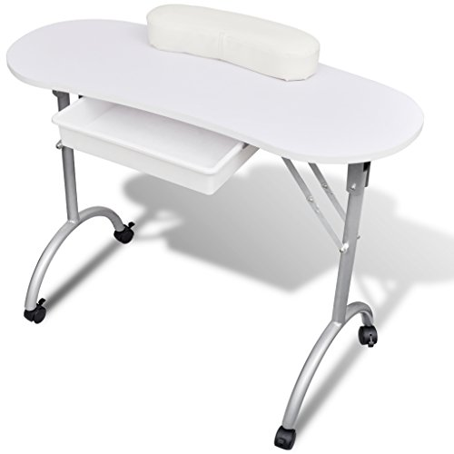 UBaymax Foldable Portable Sturdy Manicure Table Nail Technician Desk Salon Spa Workstation with Castors For Personal Care