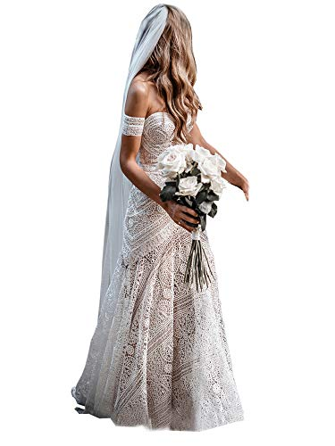 Women's Bohemian Wedding Dresses Sweetheart Mermaid Lace Bridal Gown (Nude Lining-Zipper Up,US16)