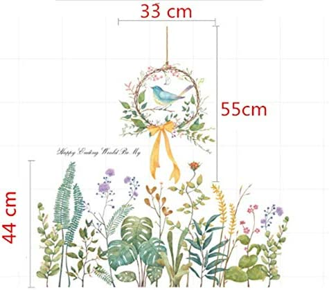 CHengQiSM Green Plants Leaf Wall Stickers Flower Bow Wreath Bird Tropical Plants Purple Dandelion Removable Wall Decals for Bedroom Living Room TV Wall Door Decor Baby Room