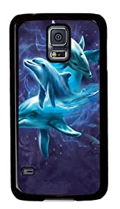 Dolphin Collage PC Case Cover for Samsung S5 and Samsung Galaxy S5 Black