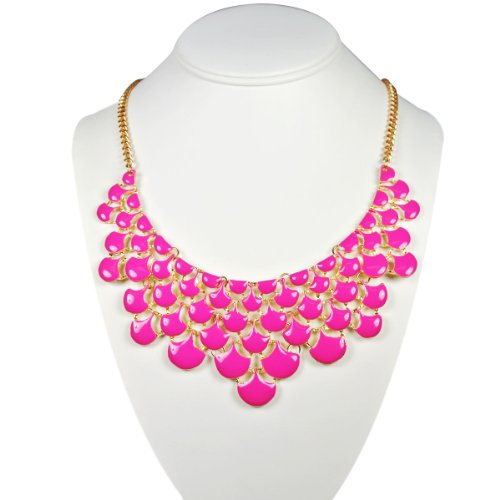 Wrapables Magenta Teardrop Statement Necklace