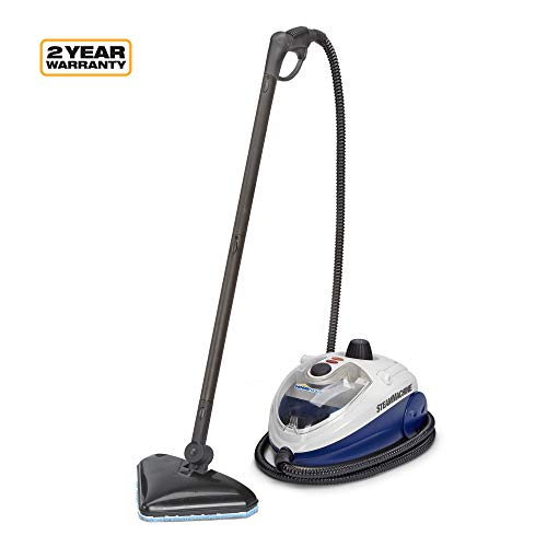 Wagner Spraytech C900134.M SteamMachine Elite Multi-Purpose Mop with 20 Accessories for Chemical-Free Steam Cleaning, Hardwood Floors, Tile, Blue, White and Black