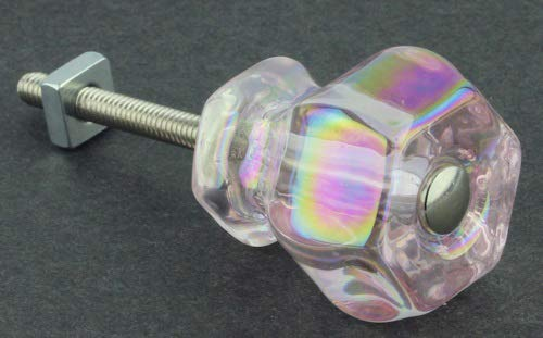 Antique Depression Pink Rainbow Glass Drawer Knob Pull Handle 1-1/4