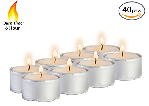 6 Hour Tea Light Candles - 40 Pack Bulk Package - White Unscented Travel, Centerpiece, Decorative Candle With Maxi Burn Time - Pressed Wax - By Ner Mitzvah by Ner Mitzvah