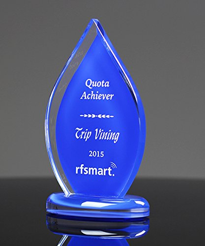 Azure Veil Flame Engraved Award - Retirement Gift, Anniversary, or Employee Recognition Award – Free Etching - Executive Acrylic Award