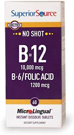 Superior Source No Shot Vitamin B12 Methylcobalamin 10,000 mcg Sublingual - B6 - Folic Acid - Instant Dissolve Tablets - Methyl B12 Supplement 60 Count