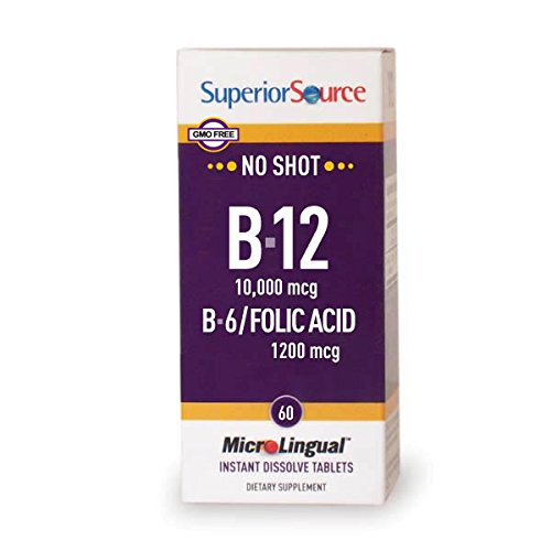 Superior Source No Shot Vitamin B12 Methylcobalamin 10,000 mcg Sublingual – B6 – Folic Acid – Instant Dissolve Tablets – Methyl B12 Supplement 60 Count
