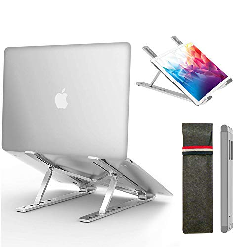 Magichold Portable Laptop Stand, Computer Laptop Holder, Aluminum Laptop Tablet Stand Riser with 6 Levels Height Adjustment, Fully Foldable, Supports up to 10 lbs, Fits up to 15.6 Laptop (Silver)