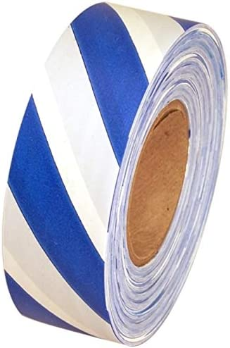 Blue//White Pack of 12 Safety Striped Flagging Tape 1-3//16 Non-Adhesive Plastic Ribbon