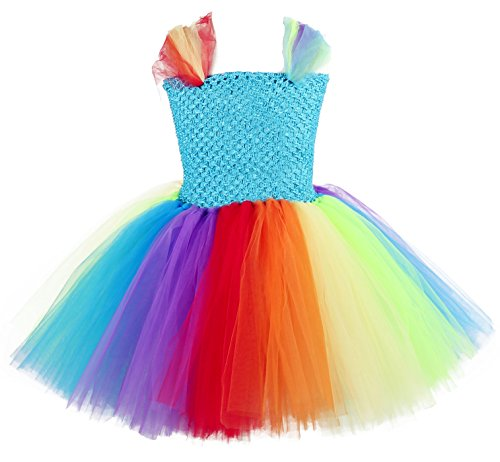 Tutu Dreams Girls Princess Costumes Rainbow Tulle With Sleeveless (M, (Princess Tutu Cosplay Costume)