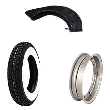 Mim Distribution Kit Neumático 3.50 10 Banda Blanca aro y filtro de aire: Amazon.es: Coche y moto
