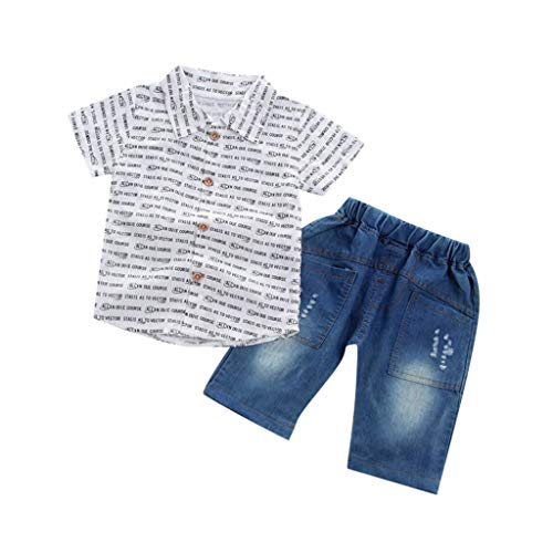 ❤️ Mealeaf ❤️ Toddler Baby Boy Gentleman Letter Short Sleeve Shirt+Denim Shorts Set Cloth(6m-4y)