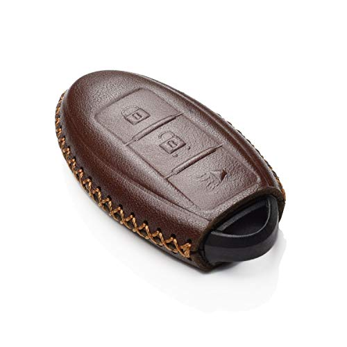 Vitodeco Leather Keyless Entry Remote Control Smart Key Case Cover with a Key Chain for Nissan & Infiniti (3 Buttons, Brown)
