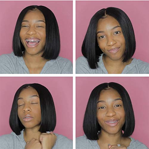 AnemoneShort Bob Wigs Natural Straight Brazilian Human Hair Wig 13x4 Middle Part Lace Front Wigs for Black Women Natural Color for Looking (8 inch)