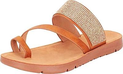 Cambridge Select Women's Toe Ring Crossover Strappy Crystal Rhinestone Slip-On Flat Slide Sandal